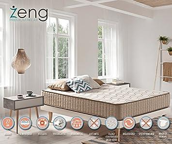 Espuma viscoelástica VISCO elástica colchón de Lujo Tencel ignífugo 7 Pulgadas Altura, Blanco, 72_x_78_in: Amazon.es: Hogar
