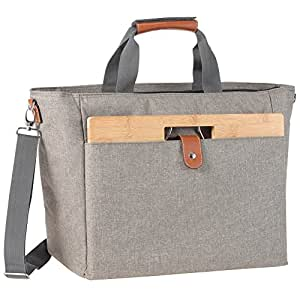 INNOSTAGE XL Large Insulated Cooler Tote Portable Wine Carrier Bag Picnic Cooler Bag with Portable Bamboo Wine Snack Table - Beige