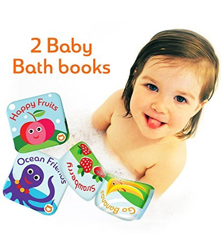 Floating Kids Books for Bathtub (Set of 2) by Baby Bibi. Fruits & Sea Animals. Waterproof Educational Toy for Baby or Toddler. Bath Time Learn & Play. 3.5