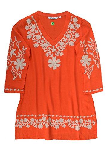 (Ayurvastram Nia Embroidered Crepe Rayon V Neck Tunic: Cream Embroidery On Orange: SZ 4X)
