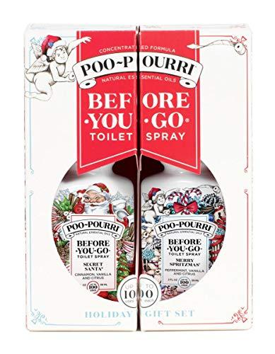 Poo Pourri Before-You-Go Toilet Spray Holiday Pull Apart Gift Set, Merry Spritzmas & Secret Santa Scents, Two 2 oz Bottles