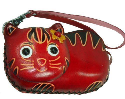 Genuine Leather Change/coin Purse/credit Cards Holder. A Beauty Lady Cat Pattern. Zipper Closure, a Lovely Present. (Burgundy)