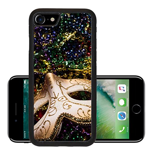 Luxlady Premium Apple iPhone 7 iPhone7 Aluminum Backplate Bumper Snap Case IMAGE ID: 26111871 Colorful Mardi Gras Mask with beaded (Carnavale Costumes)