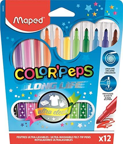 Caneta Hidrográfica Color Peps Long Life, Maped 23, Multicor Estojo 12 Cores