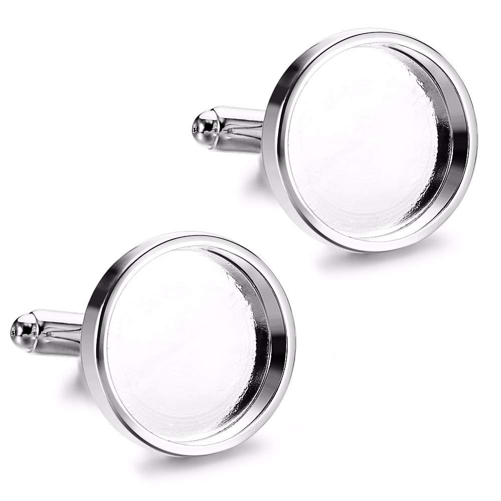 Color: Silver, Size: 18mm Laliva 10pcs Silver Fit 16mm 18mm Round Glass Cabochon Photo Frame Brass Bezels Base Tray Cufflinks for Men Cufflink Blanks Supplies