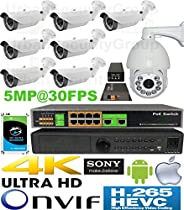 USG H.265 Sony Chip PTZ 5MP Ultra 4K 8 Camera Security System PoE IP CCTV Kit : 7x 5MP 2.8-12mm Bullet + 1x 2MP IP PTZ Speed Dome 4.3-129mm + 1x 5MP 24ch NVR + 1x PoE Switch + 1x PTZ PoE + 1x 6TB