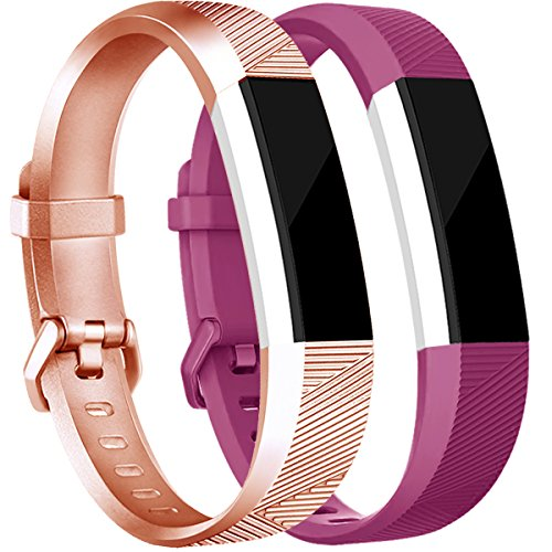 Tobfit for Fitbit Alta Bands(2 PACK), Small, Rose Gold/Fuchsia