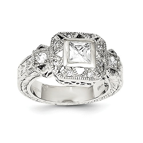 Sterling Silver CZ Antique Style Ring Size 8 (Antique Style Sterling Stamp Silver)