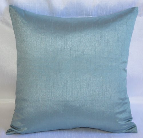 Creative Faux Silk Solid Euro Sham / Throw Pillow Cover 24 by 24 - Slate Blue
