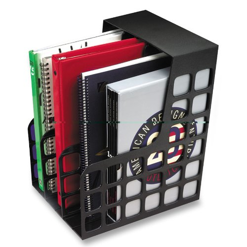 Oxford  Decorack Plastic Magazine File, 2 Dividers, Black, 9W x 10-5/8D x 12H, 1 per Box (23004EE) ()