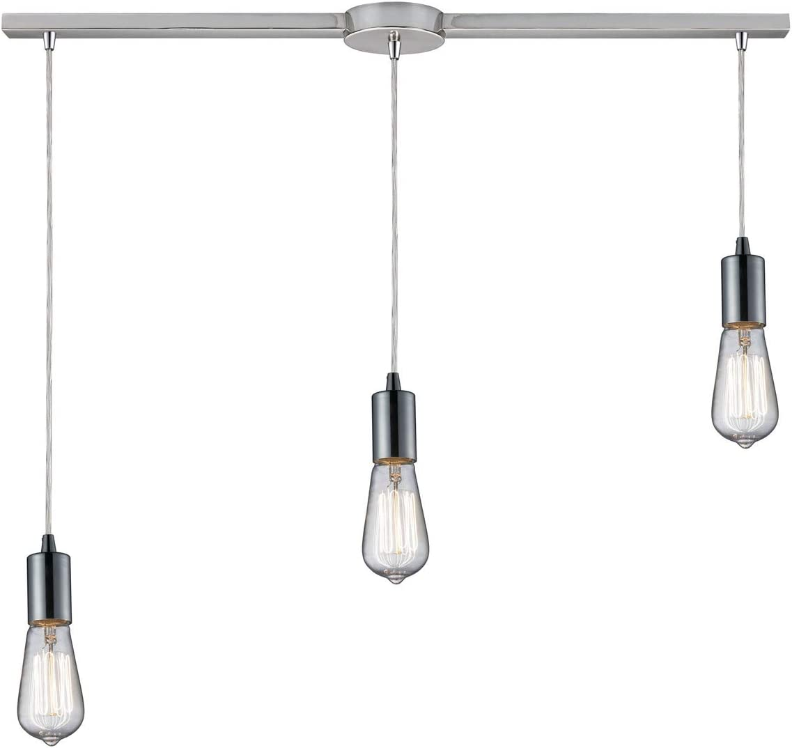 36 by 12-Inch Elk 60064-3L Menlow Park 3-Light Pendant with Glass Shade Polished Chrome Finish