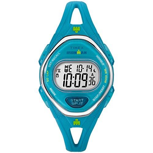 - Timex Women's TW5M13500 Ironman Sleek 50 Teal Silicone Strap Watch