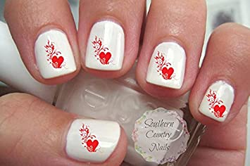 Amazon Valentines Day Red Hearts And Swirls Nail Nail Art