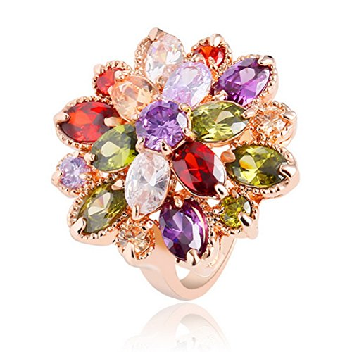 Superhai Flower Colorful Zircon Ring Wedding - Uk Tiffany Stores And Co