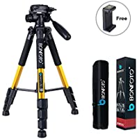 BONFOTO Q111 55 Flexible Lightweight Travel Camera Tripod 4s Stand with 1/4 Mount 3-Way Pan Head and Phone Holder Mount for Smartphones and DSLR EOS Canon Nikon Sony Samsung(Yellow)