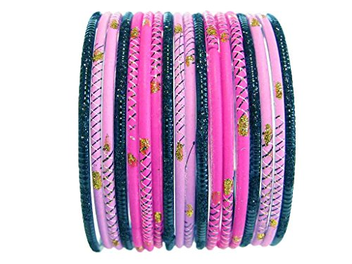 Funky Tribal Glass Bangles Indian Costume Jewelry Lavender Magenta 2.6 S (Indian Dance Costumes And Accessories)