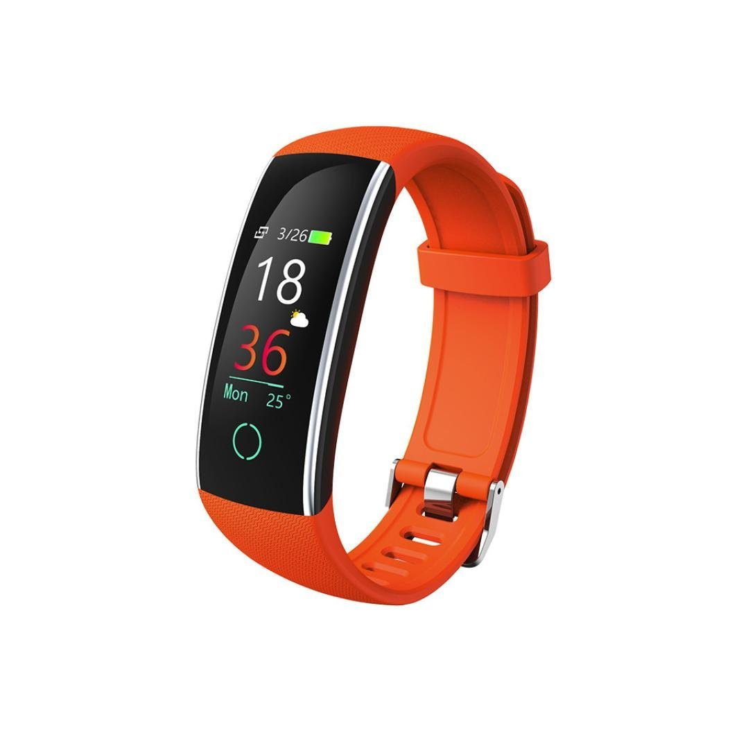 Color Screen Fitness Tracker,Sunfei 2018 IP68 Waterproof Smart Blood Pressure Exercise Heart Rate Pedometer Activity Smart Watch Tracker Bluetooth for Android & iOS (Orange)