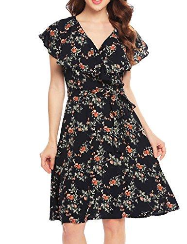 ACEVOG Women's Short Sleeve A-Line Ruffle Floral Belted Wrap Flare Dress (Pattern,S) (Dress Front Ruffle)