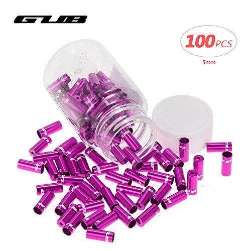 Lixada GUB 100pcs 4mm / 5mm Aluminio Aleación Bicicleta Desviador Cambio Freno Cable Cable Casquillo De Extremo Púrpura