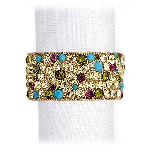 L'Objet Pave Band Napkin Rings Jewels - Gold & Multi Color Crystals (Set of 4) by L'Objet