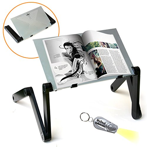 QuickLIFT Book & Magazine Portable Stand with Easy Set-Up & Adjustable Height / Angle for Mounting on Desk / Bed / Couch / Floor. Includes Flashlight ()