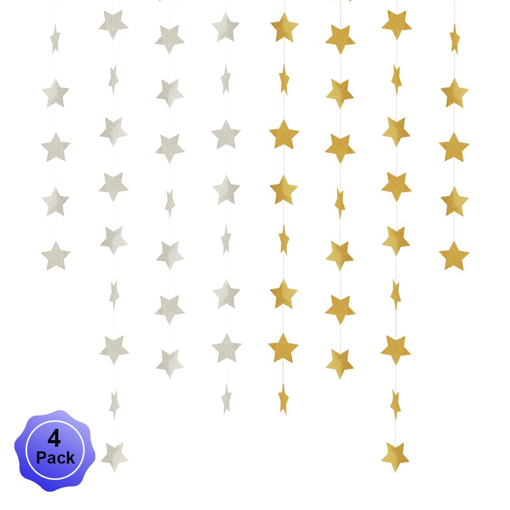 Star Banner Garland Decorations Stars Paper Birthday Party Banner Twinkle Hanging Bunting Banner Gold Glitter Sparkling Garland for Wedding Christmas Halloween Photo Booth Props Golden Silver 4 Pack