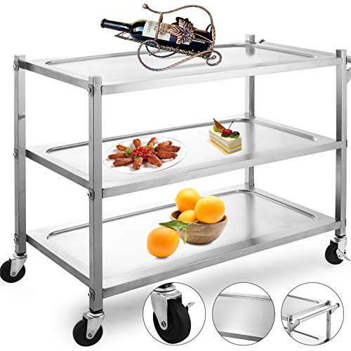 - VBENLEM Utility Cart 3 Shelf Utility Cart on Wheels 330Lbs Stainless Steel Cart Commercial Bus Cart Kitchen Food Catering Rolling Dolly with Single Handle