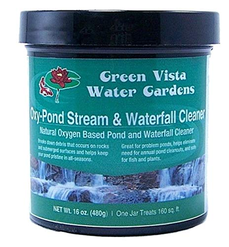 - Green Vista Oxy-Pond, Stream and Waterfall Cleaner - 16 Ounces - Removes Algae Debris and Green Scum from Water and Surfaces - Uses Oxygen's Natural Power - Safe for Koi, Other Fish, Plants
