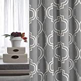 Grey Curtains for Bedroom Room Darkening Moroccan Tile Printed Curtains for Living Room Window Curtain Panels 84 inches Long, Grommet Top, 2 Panels Window Treatment