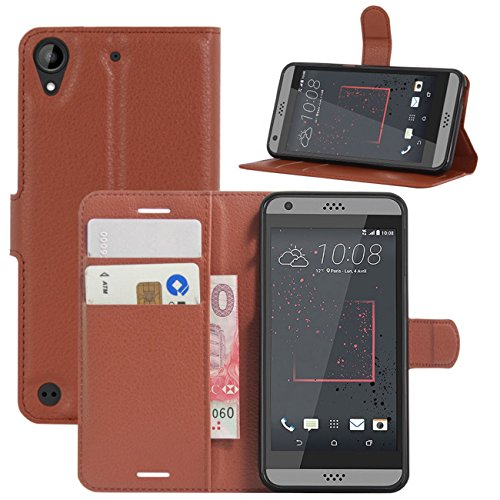 HTC Desire 530 Case, Desire 630 Case, Desire 555 Case, Desire 550 Case, Fettion Premium PU Leather Wallet Flip Phone Protective Case Cover for HTC Desire 530/630 / 555/550 Smartphone (Brown)