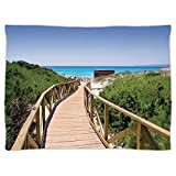 Super Soft Throw Blanket Custom Design Cozy Fleece Blanket,Beach,Beach Pathway over the Woodland in Spain Countryside Cottage Summer Sun Print,Green Cream Blue,Perfect for Couch Sofa or Bed