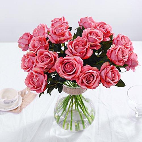 PARTY JOY Vintage Artificial Silk Rose Flower Bouquet Wedding Party Home Decor,Park of 10 (Long stem-Vintage pink) - Silk Rose Wedding Bouquets