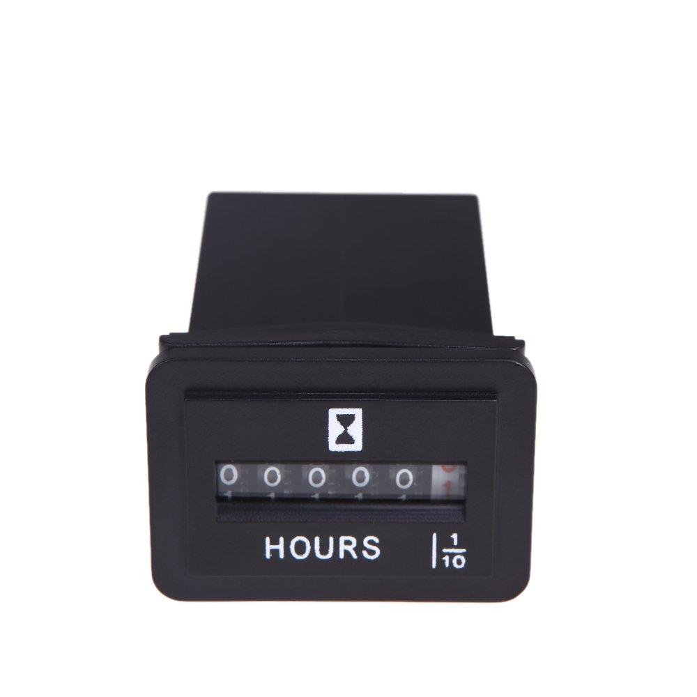 Docooler® DC 6V-50V 12V Hour Meter Gauge Hourmeter Tachometer for Small Engines Car Boat Rectangular