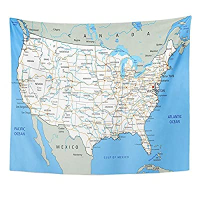 Emvency Tapestry Polyester Fabric Print Home Decor USA High Detailed United States of America Road Map with Labeling City Texas Wall Hanging Tapestry for Living Room Bedroom Dorm 50x60 Inches
