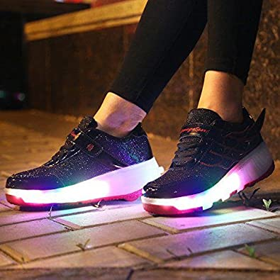 Seunota Girls Boys Wing Led Light Sneakers Shoes with Wheel Kids Roller Skate Shoes