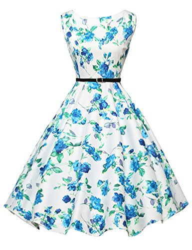 Women's Vintage Party Dresses Floral Print Short Size M F-23 ()