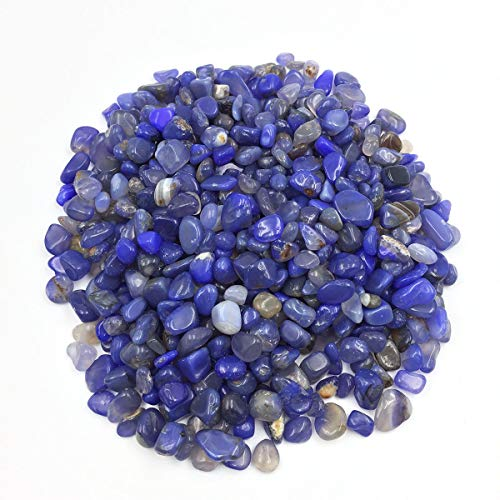 favoramulet Blue Agate Tumbled Stone Chips, Polished Crushed Healing Crystal Quartz Pieces Vase Filler 1 LB