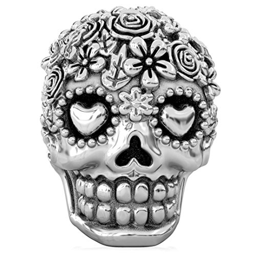 (Authentic BELLA FASCINI Flower Bouquet Skull Bead Charm - Dia de los Muertos - 925 Silver - Fits)