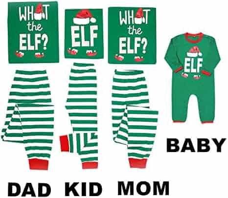 Mikrdoo Family Matching Christmas Pajamas Sleepwear Letter Printed Long Sleeve Tops Green Striped Pajamas Pant Set