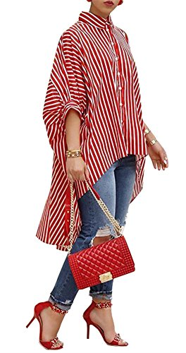 Speedle Women Oversized Striped Shirts - 3/4 Sleeves High Low Button Down Stripe Loose T Shirt Blouse Red L