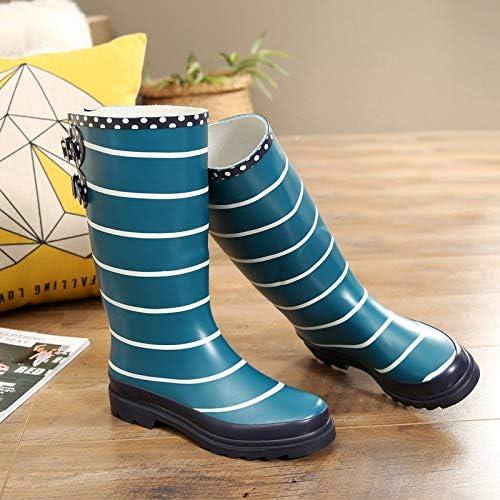 SKYROPNG Botas De Agua para,Rayas De Moda Se/ñoras Wellington Botas Altas Botas De Lluvia Zapatos De Hebilla Antideslizante De Goma Impermeable Zapatos Botas De Agua Mujer Adulta