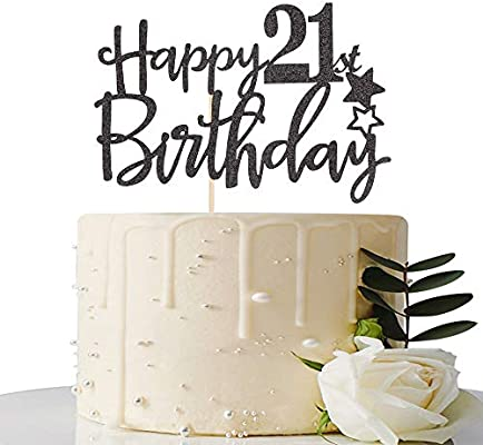 Marvelous Amazon Com Black Happy 21St Birthday Cake Topper Hello 21 Cheers Funny Birthday Cards Online Alyptdamsfinfo