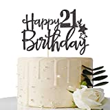 Black Happy 21st Birthday Cake Topper,Hello 21, Cheers to 21 Years, 21 & Fabulous Party Decoration
