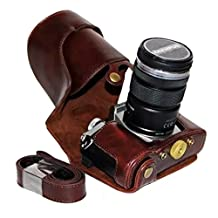 Clanmou EM5 II Protective Leather Camera Case Bag for Olympus OM-D E-M5 Mark II 12-40mm or 40-150mm Camera Lens with Camera Shoulder Strap Dark Brown