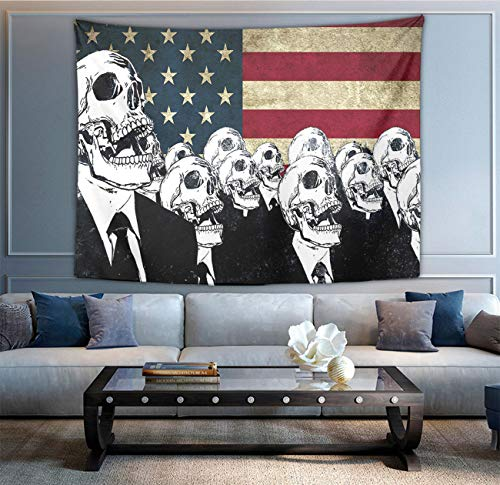 NiYoung Wall Hanging Queen Tapestries, Boho Hippie Hippy Wall Tapestry, Indian Dorm Decor, Skull American Flag Blue Red White, Kids Girls Boys Room Hippie Tapestry