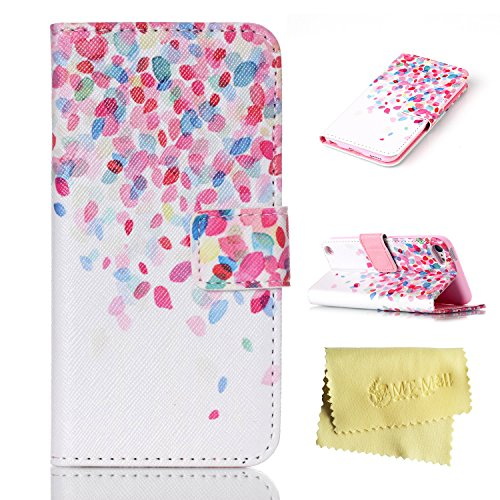 iPod Touch 5 Case,iPod Touch 5 Wallet Case,MT Mall(TM) for iPod Touch 5 Pu Leather Kickstand Flip Folio Case[Built in Credit Card Slots]with Colourful Leaves Pattern (Ipod Touch 5 Flip Cases For Girls)