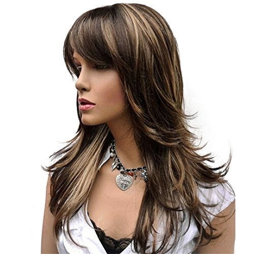 Women's Synthetic Wig Long Straight Layered Hairstyle Brown With Blonde Highlights Full Wigs