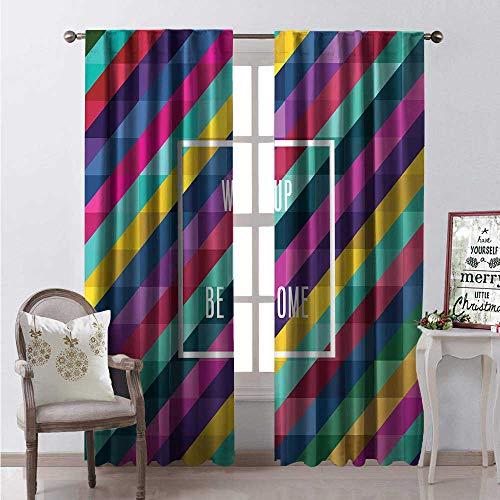 Hengshu Be Awesome Window Curtain Drape Abstract Background Low Poly Style Design Colorful Art Framed Lettering Customized Curtains W84 x L84 Multicolor