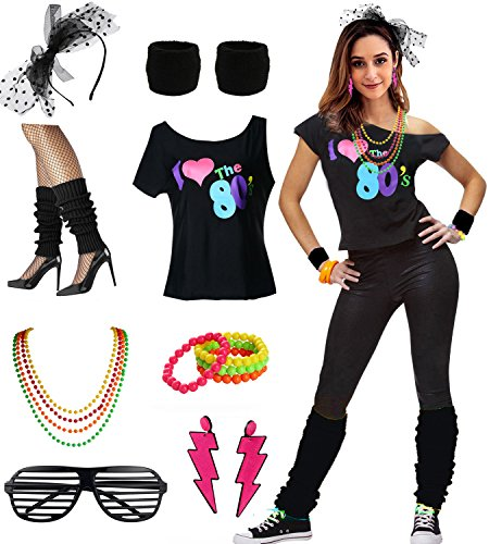 esrtyeryh Women Costume I Love The 80's Disco 80s Costume Outfit Accessories, Black, XL/XXL -