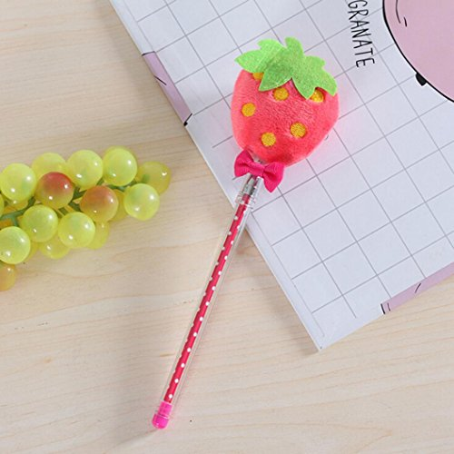 Inverlee Back to School Supplies, Cute Vegetable Fruit Plush Ball Creative Gel Pen Smooth Writing (Strawberry) by Inverlee School&Office Supplies (Image #2)